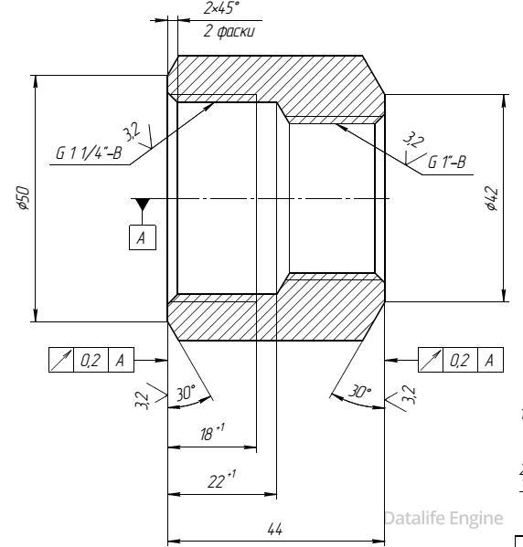 фиттинг резьбовой vanck pfsi 1х1 1/4 - чертеж