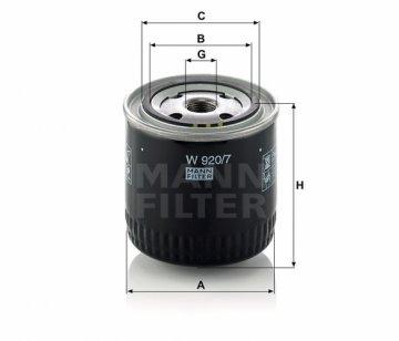 Масляный фильтр Mann W920/7 - фото 1